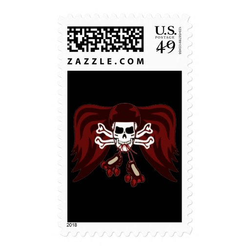 skull and skates postage stamps