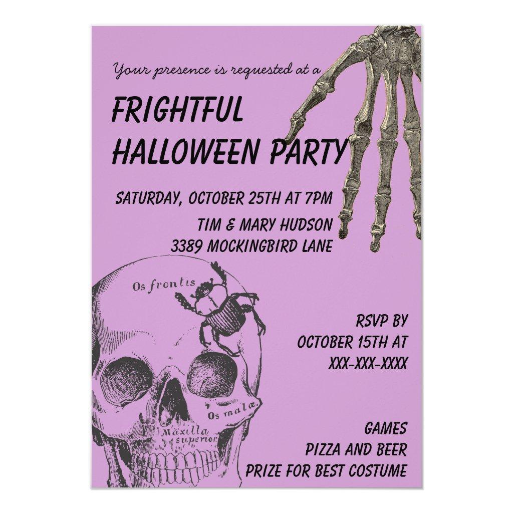 Skull and Skeleton Hand Halloween Card