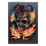 Skull and Snake Tattoo Greeting Card