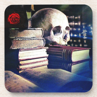 Skull and spell book image, fantasy, goth, myths beverage coaster