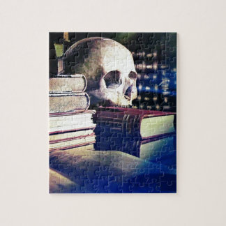 Skull and spell book image, fantasy, goth, myths jigsaw puzzle