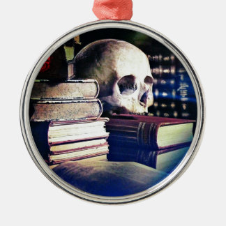 Skull and spell book image, fantasy, goth, myths metal ornament