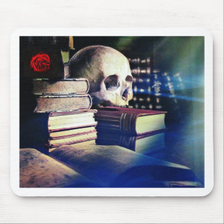 Skull and spell book image, fantasy, goth, myths mouse pad
