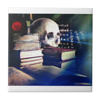 Skull and spell book image, fantasy, goth, myths tile
