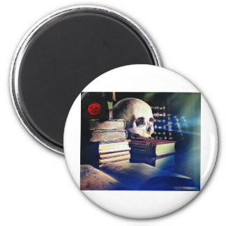 Skull and spell book on gifts, clothing, and cards 2 inch round magnet