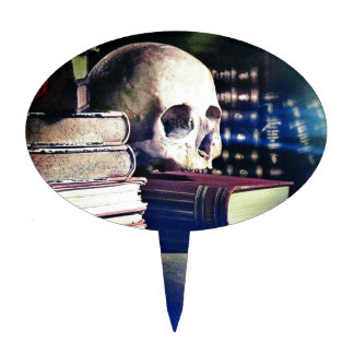 Skull and spell book on gifts, clothing, and cards cake topper
