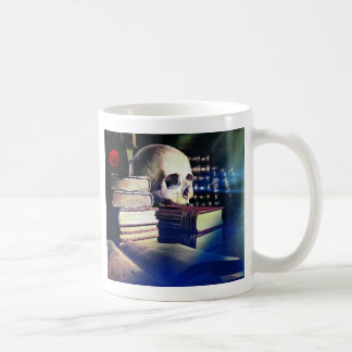 Skull and spell book on gifts, clothing, and cards coffee mug
