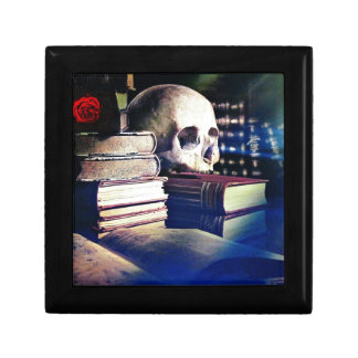 Skull and spell book on gifts, clothing, and cards jewelry box