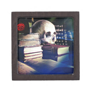 Skull and spell book on gifts, clothing, and cards keepsake box
