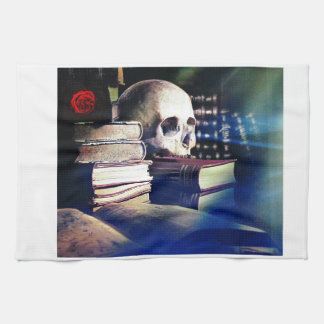 Skull and spell book on gifts, clothing, and cards kitchen towels