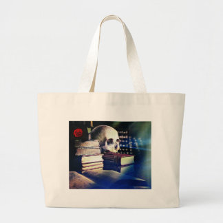 Skull and spell book on gifts, clothing, and cards large tote bag