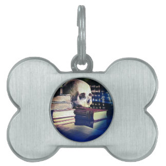 Skull and spell book on gifts, clothing, and cards pet ID tag