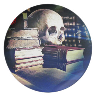 Skull and spell book on gifts, clothing, and cards plate