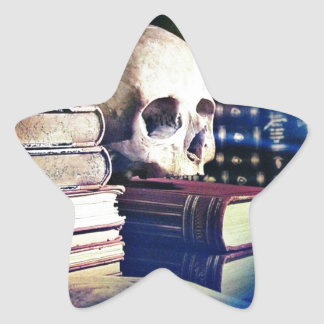 Skull and spell book on gifts, clothing, and cards star sticker