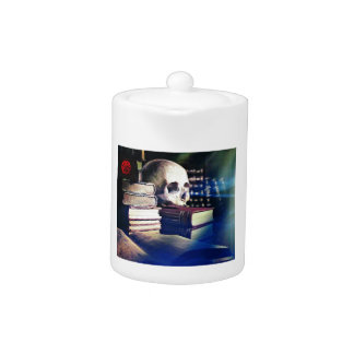 Skull and spell book on gifts, clothing, and cards teapot