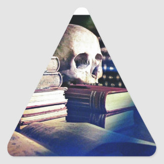 Skull and spell book on gifts, clothing, and cards triangle sticker