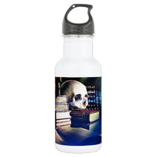 Skull and spell book on gifts, clothing, and cards water bottle