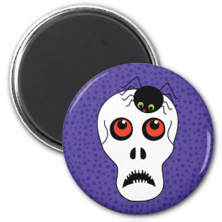 Skull and Spider Halloween Magnet