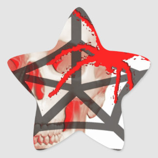 skull and spiders star sticker