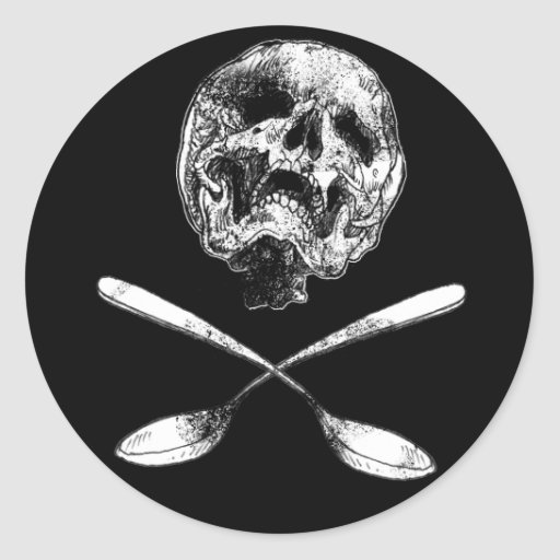 Skull and Spoons Classic Round Sticker