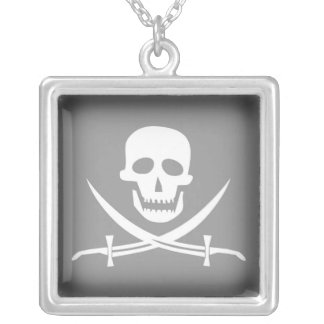 SKULL AND SWORDS PIRATE PRINT SQUARE PENDANT NECKLACE