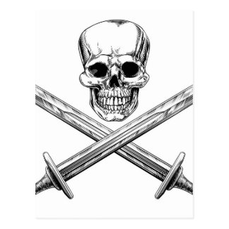 Skull and Swords Pirate Sign Postcard