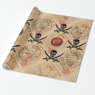 SKULL AND  SWORDS ,PIRATES TREASURE MAP PARCHMENT WRAPPING PAPER