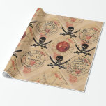 SKULL AND  SWORDS ,PIRATES TREASURE MAP PARCHMENT GIFT WRAP