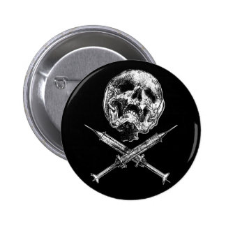 Skull and Syringes Pinback Button