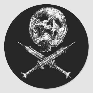 Skull and Syringes Round Sticker