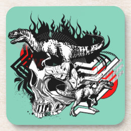 Skull and T-Rex Graphic Coasters