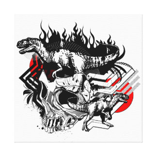Skull and T-Rex Vector Graphic Canvas Canvas Print