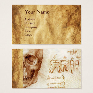 SKULL AND TEETH,DENTAL CLINIC,DENTIST PARCHMENT BUSINESS CARD