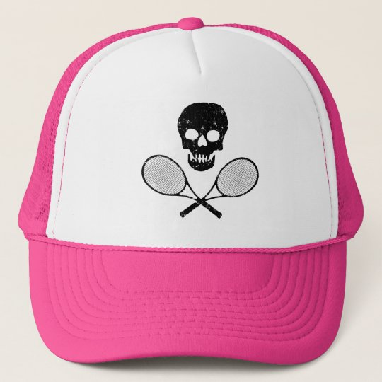 Skull and Tennis Racquets Trucker Hat