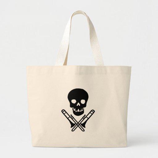 skull and trombones jumbo tote bag