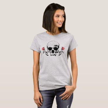 Halloween Themed Skull and Vampire Roses Goth T-shirt