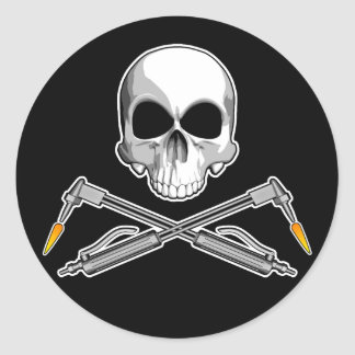 Skull and Welding Torches Classic Round Sticker