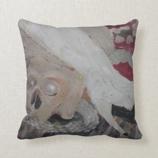 Skull and White Boot by Wendy C Allen Pillow