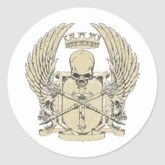 skull and wings customizable design classic round sticker