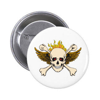 Skull and Wings with Crossbones and Fire Pinback Button