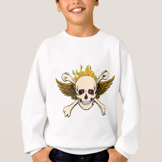 Skull and Wings with Crossbones and Fire Sweatshirt