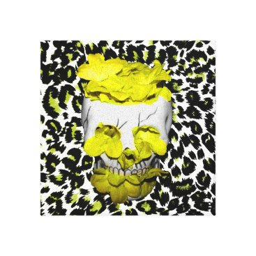 Halloween Themed Skull and Yellow Flowers on Leopard Print