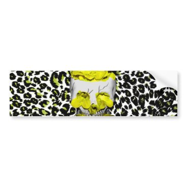 Halloween Themed Skull and Yellow Flowers on Leopard Print Bumper Sticker