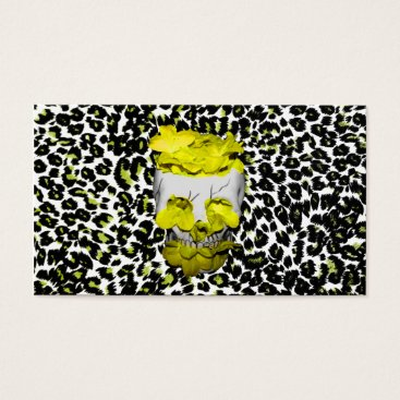 Halloween Themed Skull and Yellow Flowers on Leopard Print Business Card