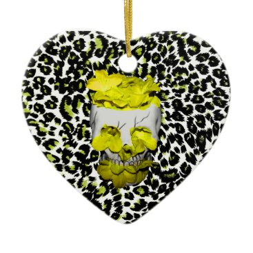 Halloween Themed Skull and Yellow Flowers on Leopard Print Ceramic Ornament