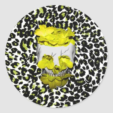 Halloween Themed Skull and Yellow Flowers on Leopard Print Classic Round Sticker