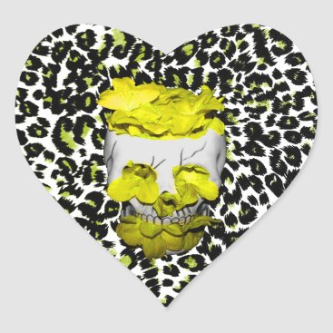 Halloween Themed Skull and Yellow Flowers on Leopard Print Heart Sticker