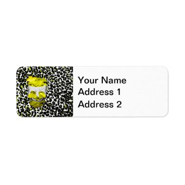 Halloween Themed Skull and Yellow Flowers on Leopard Print Label