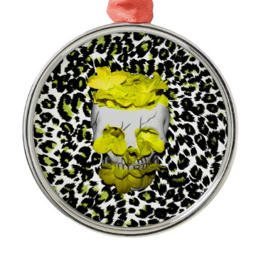 Halloween Themed Skull and Yellow Flowers on Leopard Print Metal Ornament