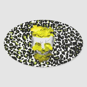 Halloween Themed Skull and Yellow Flowers on Leopard Print Oval Sticker